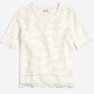 J. Crew•Short Sleeve Fringe Sweater•Size XS